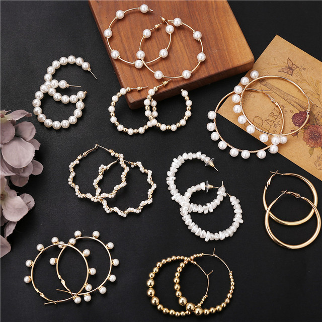 17KM Vintage Oversize Pearl Earrings For Women Girls Brinco Big Hoop Earrings Circle Earring Statement Geometric Fashion Jewelry
