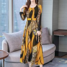 Vestido de manga larga con estampado de leopardo para mujer, Vestido largo con cuello redondo y estampado de leopardo