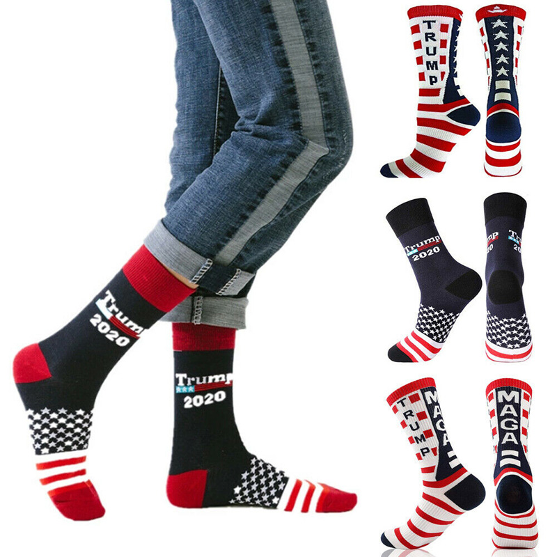 Donald Trump President Socks 2020 Republican Breathable Elasticity Stripe For Sports H66