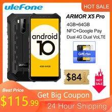 Ulefone armor x5 pro áspero impermeável smartphone 4gb + 64gb android 10.0 telefone celular nfc 4g lte telefone móvel