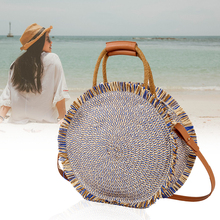 купить Fashion Tassel Handbag Straw Bag Women Beach Woven Bag Round Tote Fringed Shoulder Travel Bag Sac En Paille 2019 Bolso Mujer онлайн