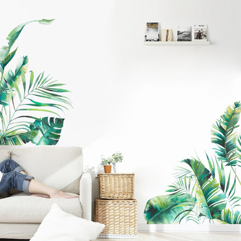 Tropical vegetation series Wall sticker bedroom living room home decoration mural Sofa background wallpaper green stickers 1