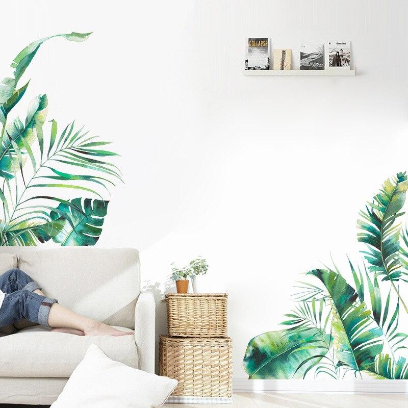 La vegetación Tropical serie etiqueta de la pared de dormitorio casa habitación decoración mural fondo de sofá papel pintado verde pegatinas