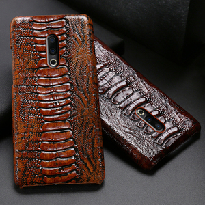 Image 1 - Genuine Leather Phone Case For Meizu 16th Plus 16 16X 17 Pro 7 Plus Cases Luruxy  Cowhide Ostrich Foot Texture Back Cover