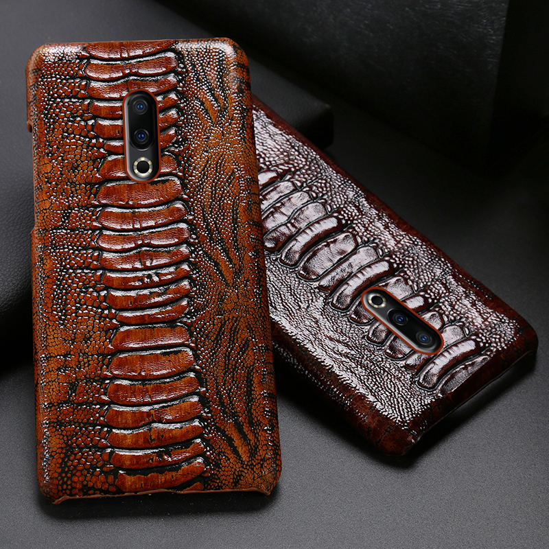 Genuine Leather Phone Case For <font><b>Meizu</b></font> 16th Plus <font><b>16</b></font> 16X 17 <font><b>Pro</b></font> 7 Plus X8 Cases Luruxy Cowhide Ostrich Foot Texture Back Cover image