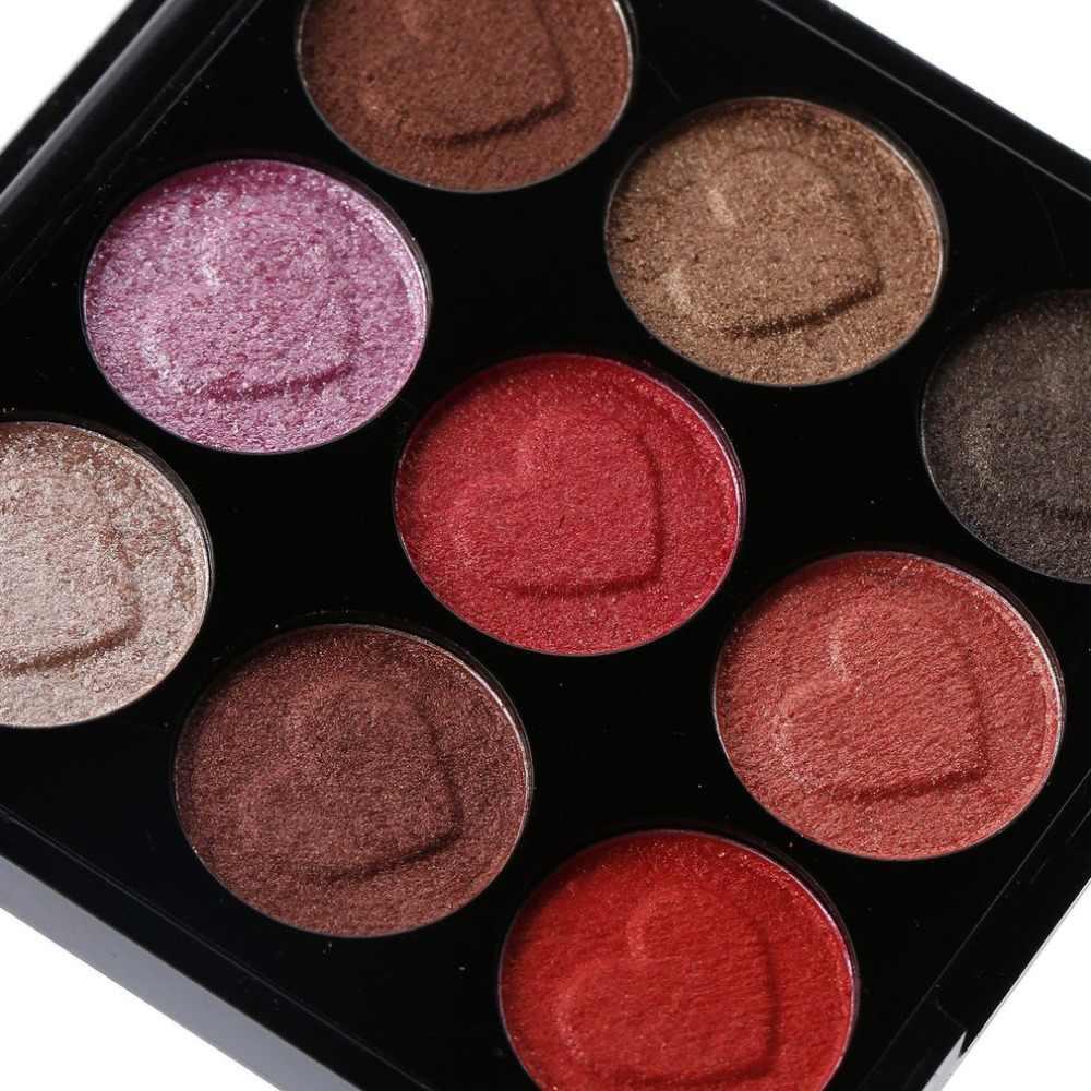 Горячая современные блестящие 9-Цвет тени для век матовые тени для век мерцание в форме сердца тени для век макияж Гладкая декоративная косметика