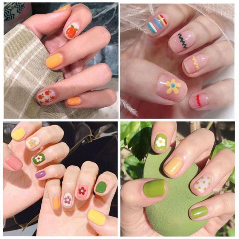 24pcs/Set Cartoon Pattern Short False Nails Strawberry Poached Egg Summer Fake Nail Girls Nail Art Press On Fake Nails With Glue