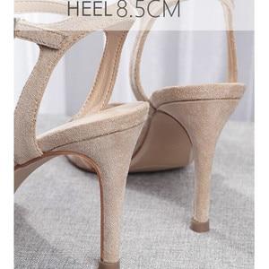 Image 5 - Sandales à talons hauts pour femmes, escarpins à talons fins de 8.5cm, couleur unie, lanières de cheville, chaussures de mariage Sexy, collection décontracté