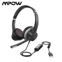 Mpow HC6有線ヘッドフォンusb 3.5ミリメートルコンピュータのノイズリダクションマイク有線pc電話オフィスドライバ