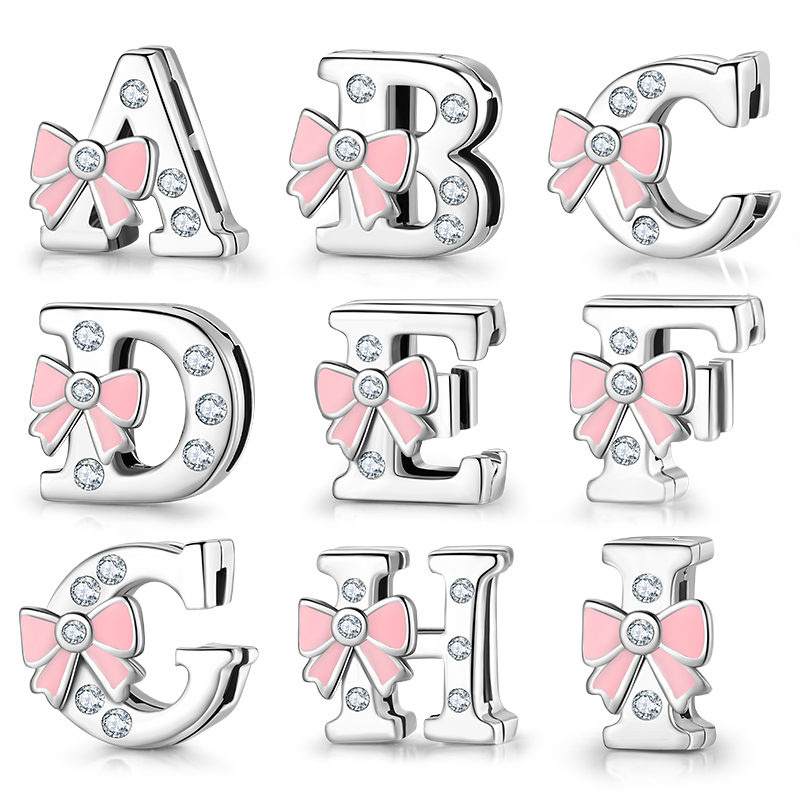 Top Quality 925 Sterling Silver Letter A To Z Zircon Clips Beads Fit Original Reflections Charm Bracelet Women Jewelry Making