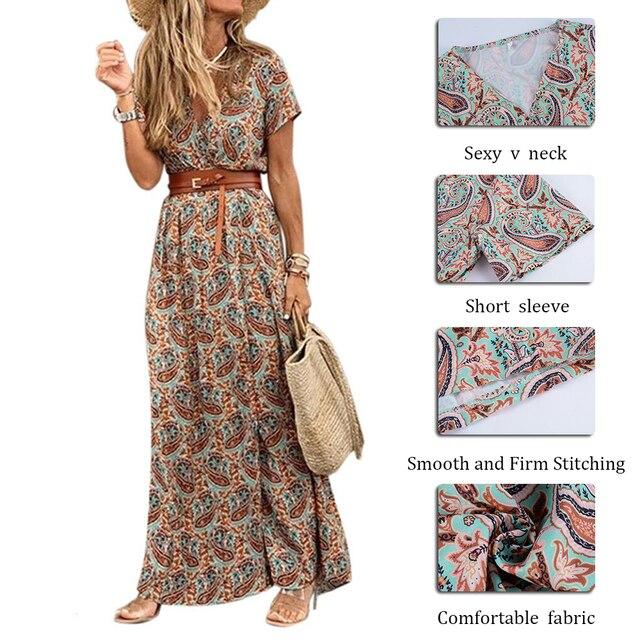 Womens Long Dress Summer V-neck 4