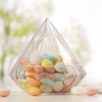 48pcs Acrylic Wedding Candy Box Clear Plastic Diamond Packaging Box for Wedding Gifts Party Candy Holders Banquet Giveaways