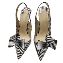 High-Heels Shoes Pointy Toe Elegant Women Luxury Black Strip Thin Bow-Tie Slingback