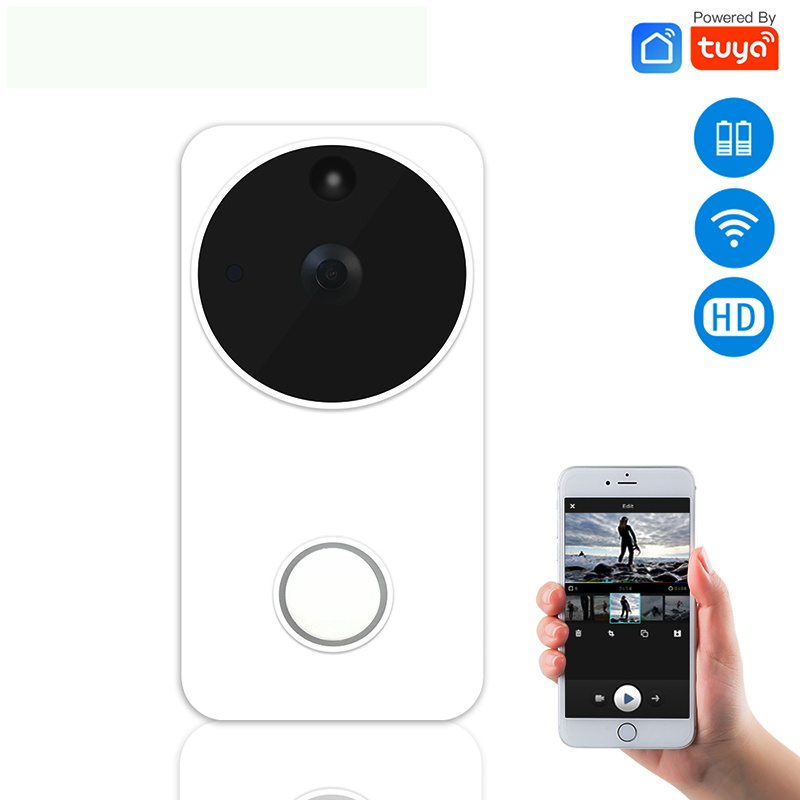 Wireless Smart Video Doorbell Camera Tuya Smart Life Full HD PIR Motion Detection Night Vision Camera Work With Alexa Echo Show