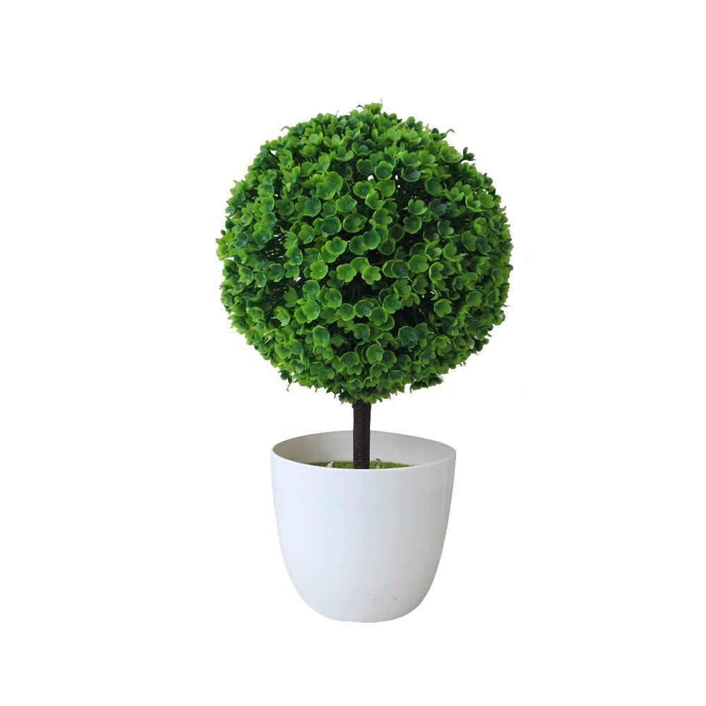 Plastic Potted Box Ball Plant Decorative Artificial Indoor Outdoor Garden Pot UK