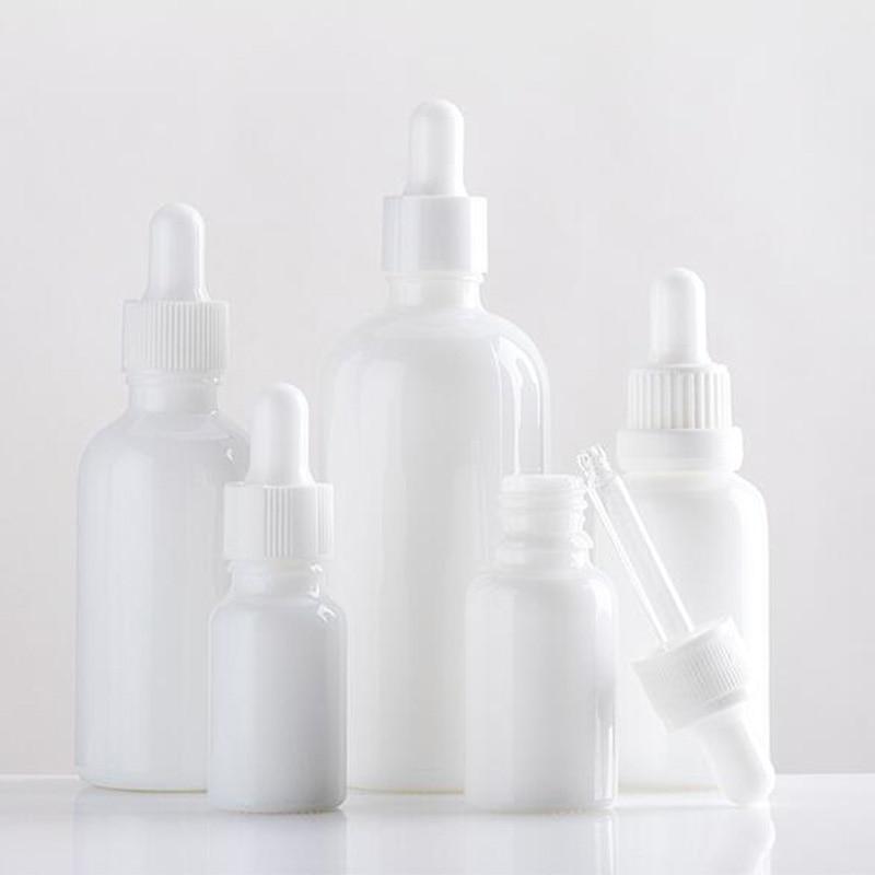 10 X10ml Empty White Glass Bottle 15ml 1oz 30ml 50ml 100ml Perfume Essential Oil E Liquid Dropper Bottle With White Rubber