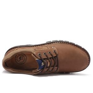 Image 3 - Zapatos de hombre CAMEL Casual de cuero de vaca, Matte Retro, conjunto de cuero genuino, zapatos de navegación para hombre, cómodo calzado Masculino
