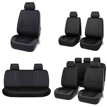 PU Eco-Leather Universal Car Seat Covers High Quality Full Set Car Seat Cover Interior Accessories For 4 Season Car Seat Cover kkysyelva front rear pu leather auto universal car seat covers automobile seat cover car seat cushion set interior accessories