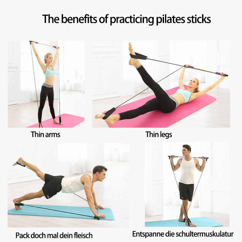 Pilates Bar Stretch Rope Gym Home Yoga Exercise Rope Lightweight Resistance Band and Toning Bar Trainer for Power Lifting Strength Training Home Gym and Cardio Exercise