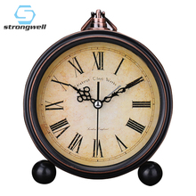 Strongwell European Round Alarm Clock Retro Table Stand Silent Quartz Clock Simple Bedside Digital Bell Home Children цена в Москве и Питере