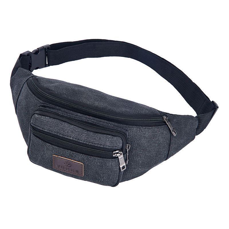 2019 New Fashion Casual Zip Waist Bag Men's And Women's Outdoor Sports Diagonal Small Backpack Women's Zip Canvas Waist Bag's