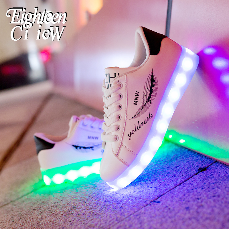 2019 New Fashion Women Luminous Sneakers With Illumination Led Shoes Glowing Sneakers With Luminous Sole Children's Shoes