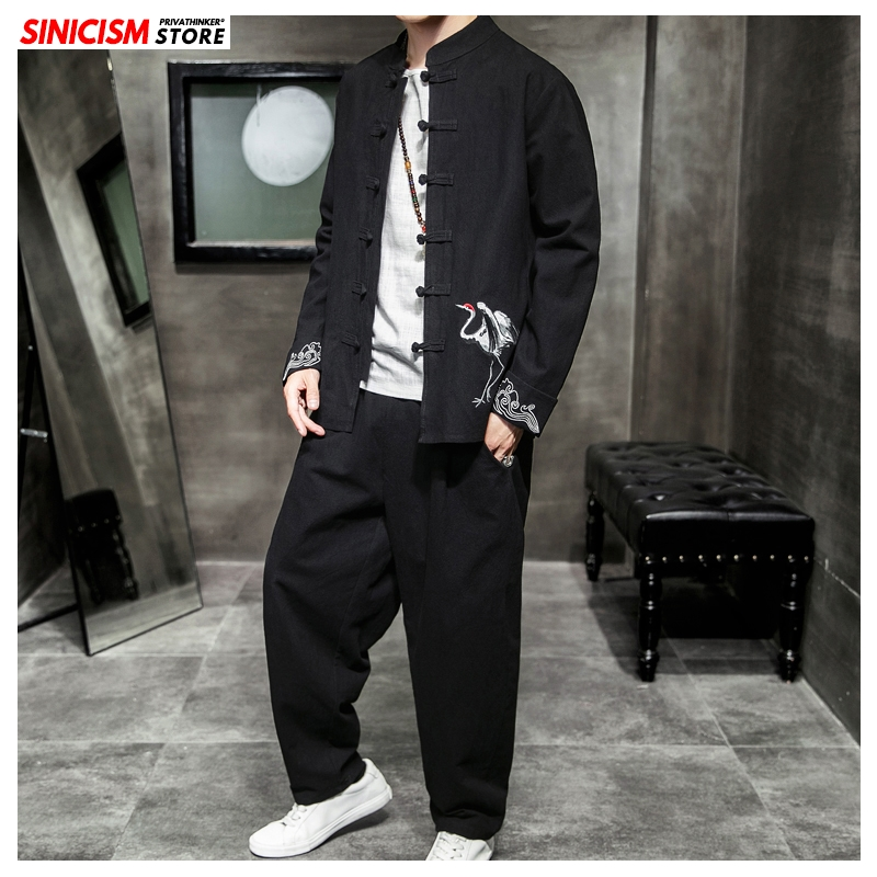 Sinicism Store Men 2020 Embroidery Spring Tracksuit Coat Mens Loose Tang Suit Sets Male Fashion Casual Chinese Style Clothes 5XL
