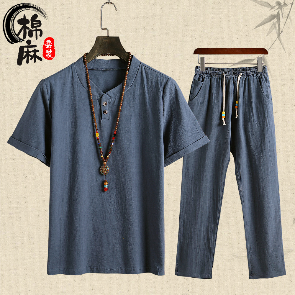 2019 Summer Wear Flax Short Sleeve T-shirt Trousers Two-Piece Set Cotton Linen Set Men Cotton Linen Leisure Suit MEN'S Suit