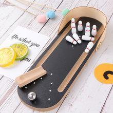 Wooden Mini Portable Desktop Bowling Toy Fun Gift Throwing B