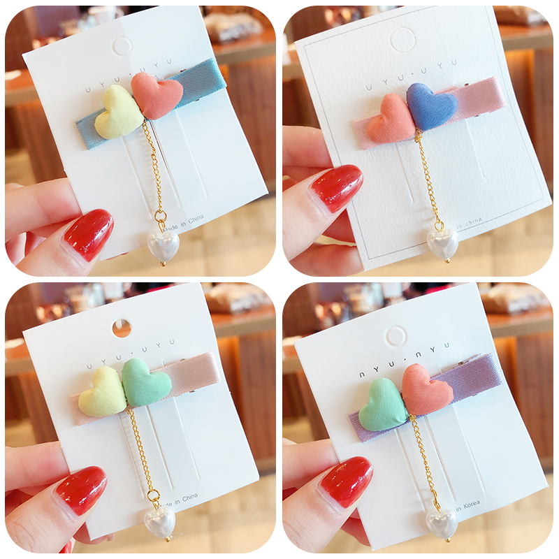 New Children Cute Colorful Love Pendant Pearl Ornament Hair Clips Girls Lovely Alloy Barrettes Hairpins Kids Hair Accessories