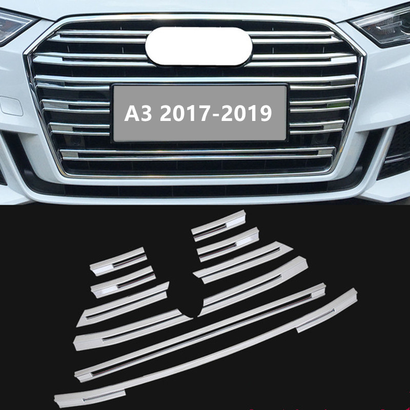 Chrome ABS Front Grille Decorative Cover Trim Strips 10pcs For Audi A3 2017 2018 2019 Car Styling Bumper decoration Decals