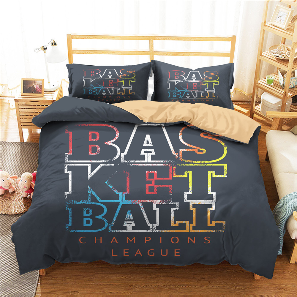 Basketball Printing Boys Home Bedding Set Winter Soft Home Quilt Cover Pillowcase 2/3Pcs Single Double Teens Room Decor Bedding