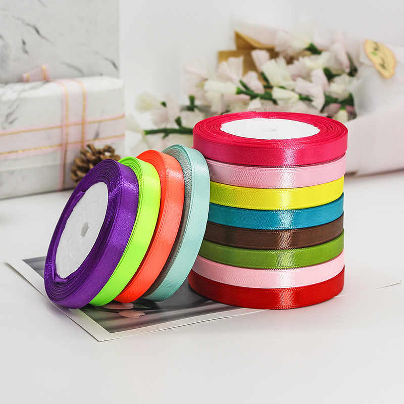 10mm 3/8 zoll breite 17 farben 25yards Satin band für geschenk dekorative verpackung satin bänder für hand arbeit weihnachten Hochzeit party