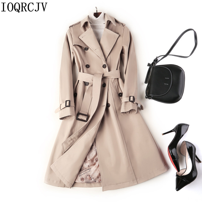 2019 New Fashion Double Breasted Mid-long Trench Coat Women Khaki Slim Belt Cloak Mujer Windbreaker Female Abrigos Brazil R1012
