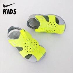 NIKE Original Kinder Sandalen Atmungsaktive Sommer Strand Schuhe Anti-rutsch Kinder Schuhe Weiche Kinder Sommer Slids Haken & schleife