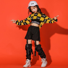 Children Girl long Sleeve Black Yellow Hip Hop Hiphop Ds Jazz Dance Costumes Ballroom Clothes Outfit