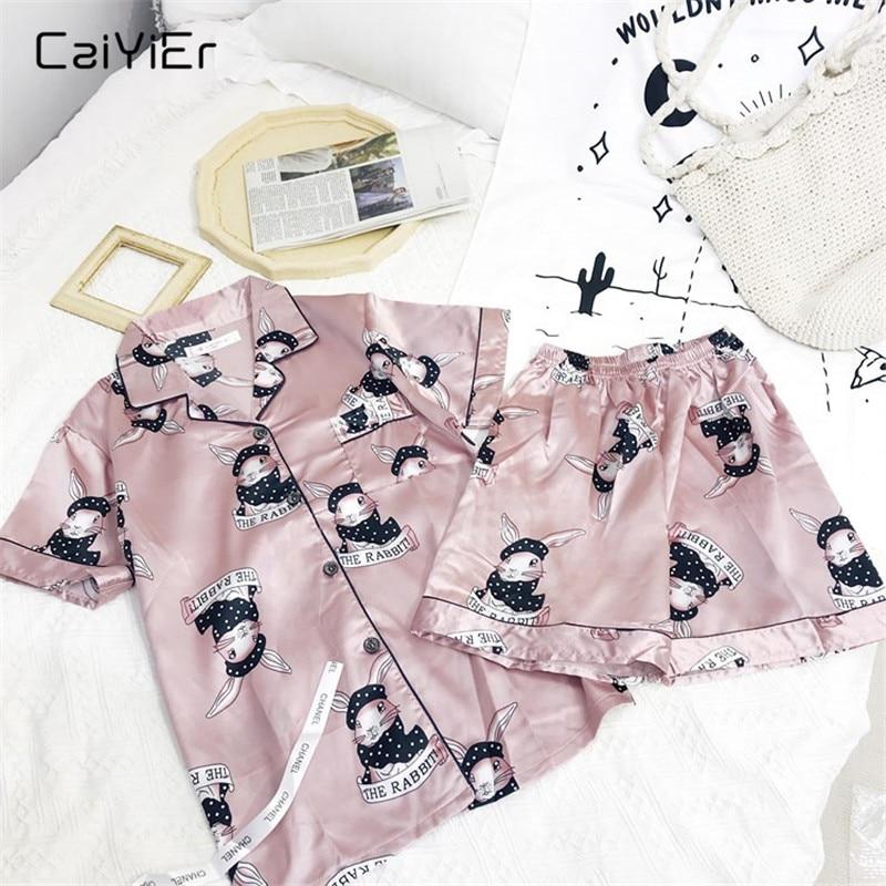 Caiyier Pink Rabbit Print Silk   Pajama     Set   Short Sleeve Sleepwear Summer 2019 Women Casual Nightwear Sexy Girl Homewear