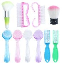 Brosse à ongles en plastique, 6 Types, 1 pièce, pour le nettoyage de la manucure, douce, élimine la poussière, accessoires professionnels de soins des ongles GL095