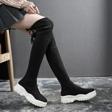 Elastic Over-the-knee Women Boots Fashion 2019 Round Toe Autumn/Winter Boots with Platform   YHA011 moraima snc spring autumn fashion women riding boots over the knee flat with fringe strap buckle decoration round toe long boots