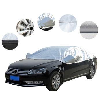 UV Protection Dust Proof Car Cover Outdoor Indoor Universal Half Semi Car Protection Cover With Wind-Proof Hooks Suction Cups