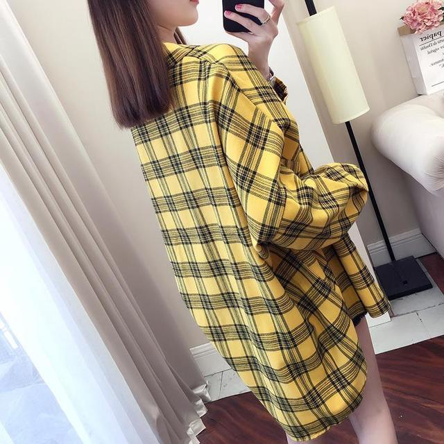 2020 fashion  summer blouse long sleeve female plaid shirt tops cotton vintage korean novelty streetwear loose 4
