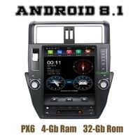 12.1 IPS screen PX6 Tesla Style android 8.1 car radio gps player for toyota prado 150 2010 2011 2012 2013 with wifi usb 4+32G
