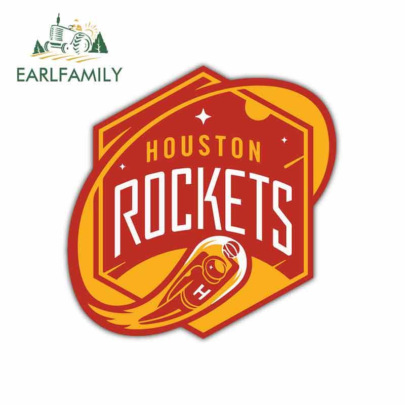 EARLFAMILY 13cm X 12.7cm For Houston Rockets Basketball Logo Funny Car Stickers Vinyl Sunscreen RV VAN Decal JDM Car Accessories