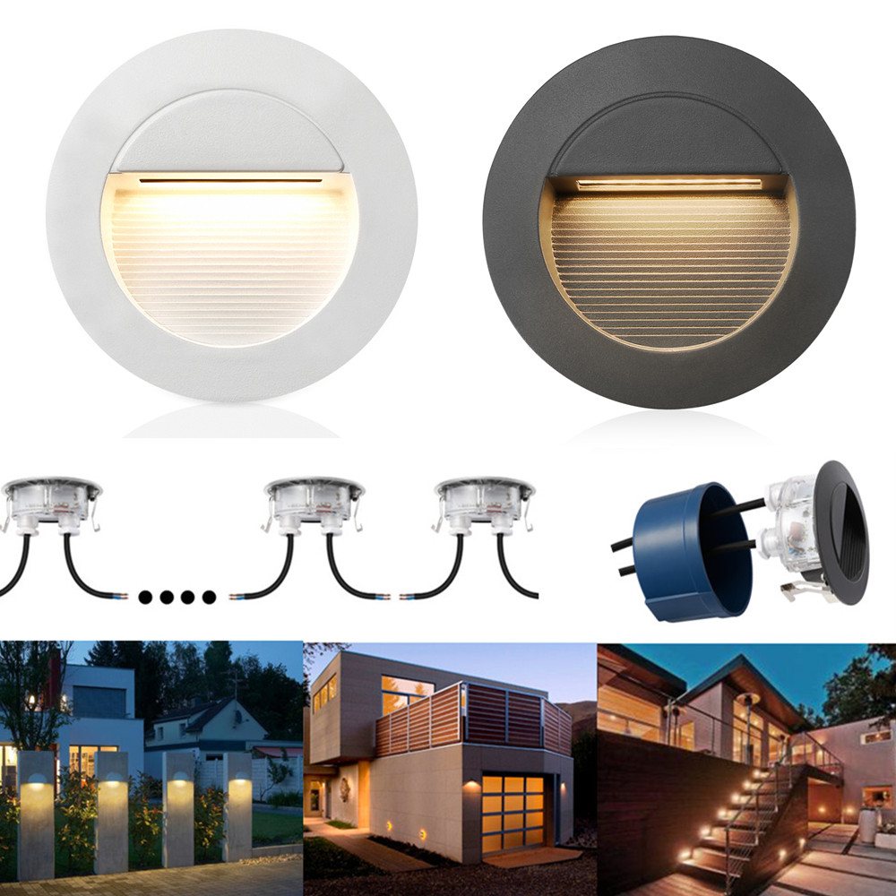 IP65 Waterproof 2W LED Recessed Wall Round Staircase Lamp Step Light Square