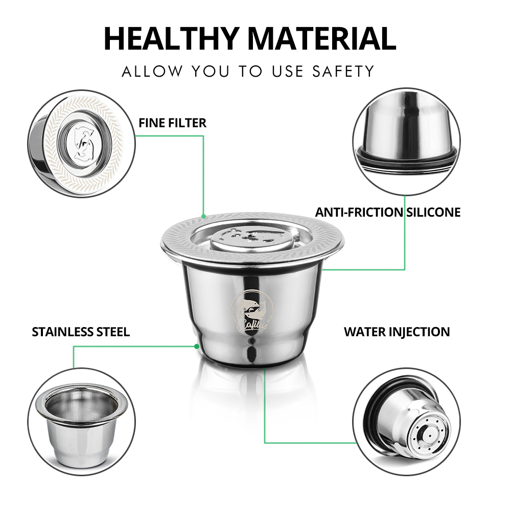 VIP Link For Nespresso Reutilisable Inox 2 In 1 Usage Refillable Capsule Crema Espresso Reusable Refillable Coffee Filter