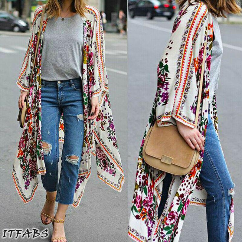 New 2020 Summer Women's Loose Blouse Summer Casual Boho Chiffon Coat Shawl Kimono Cardigan Tops