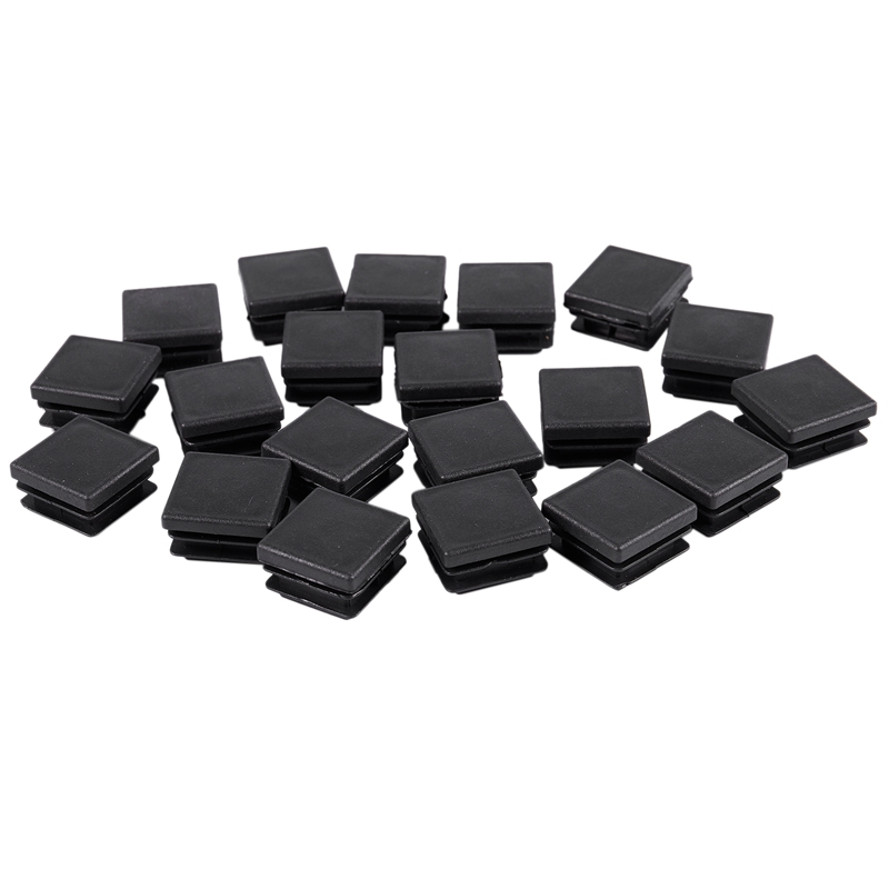 20 Pcs Plastic Square Blanking End Caps Tube Inserts 25mm X 25mm