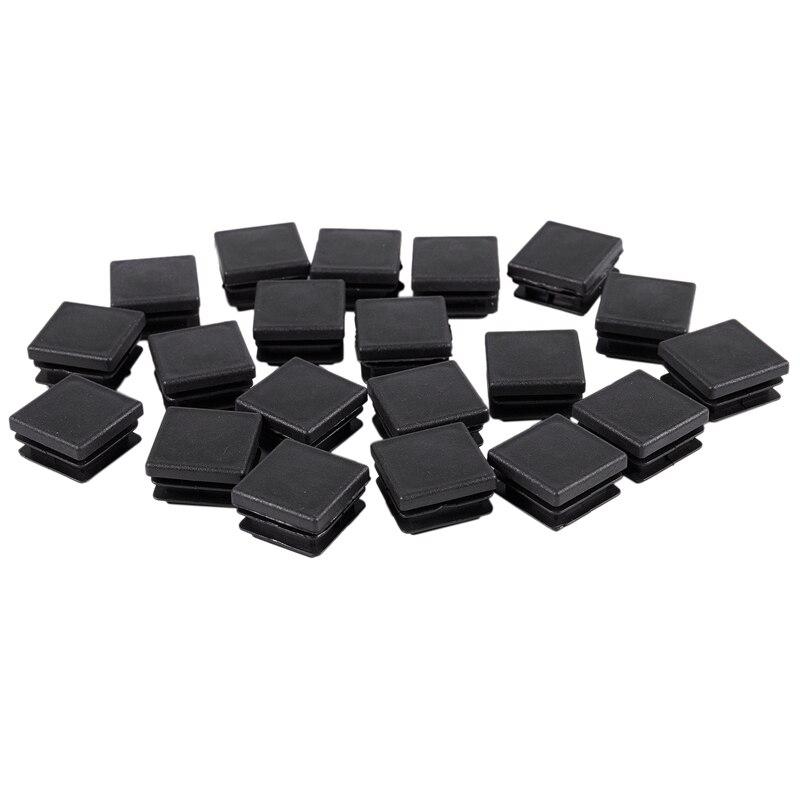 20 Pcs Plastic Square Blanking End Caps Tube Inserts 25mm X 25mm
