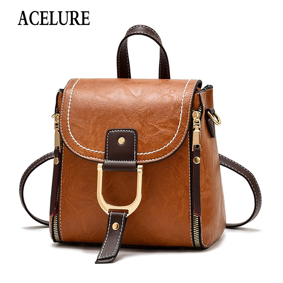 ACELURE Luxury Famous Brand Designer Women Leather Backpack Female Casual Shoulders Bag Teenager School Bag Fashion Women's Bags