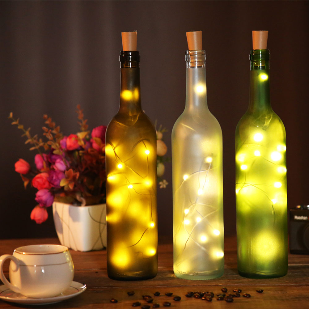 LED String Light  Wine Bottle Lights With Cork Silver Wire Fairy Garland Lights Christmas Holiday Party Wedding Decoration